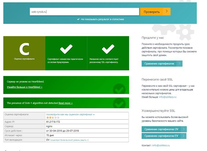 Информация о сертификате